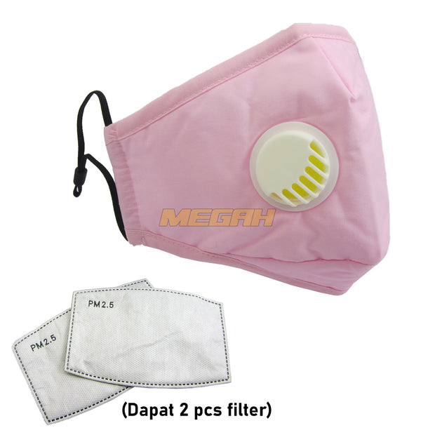 MASKER VENTILATOR 100% KATUN DENGAN 2 PCS FILTER IMPORT (LA010)