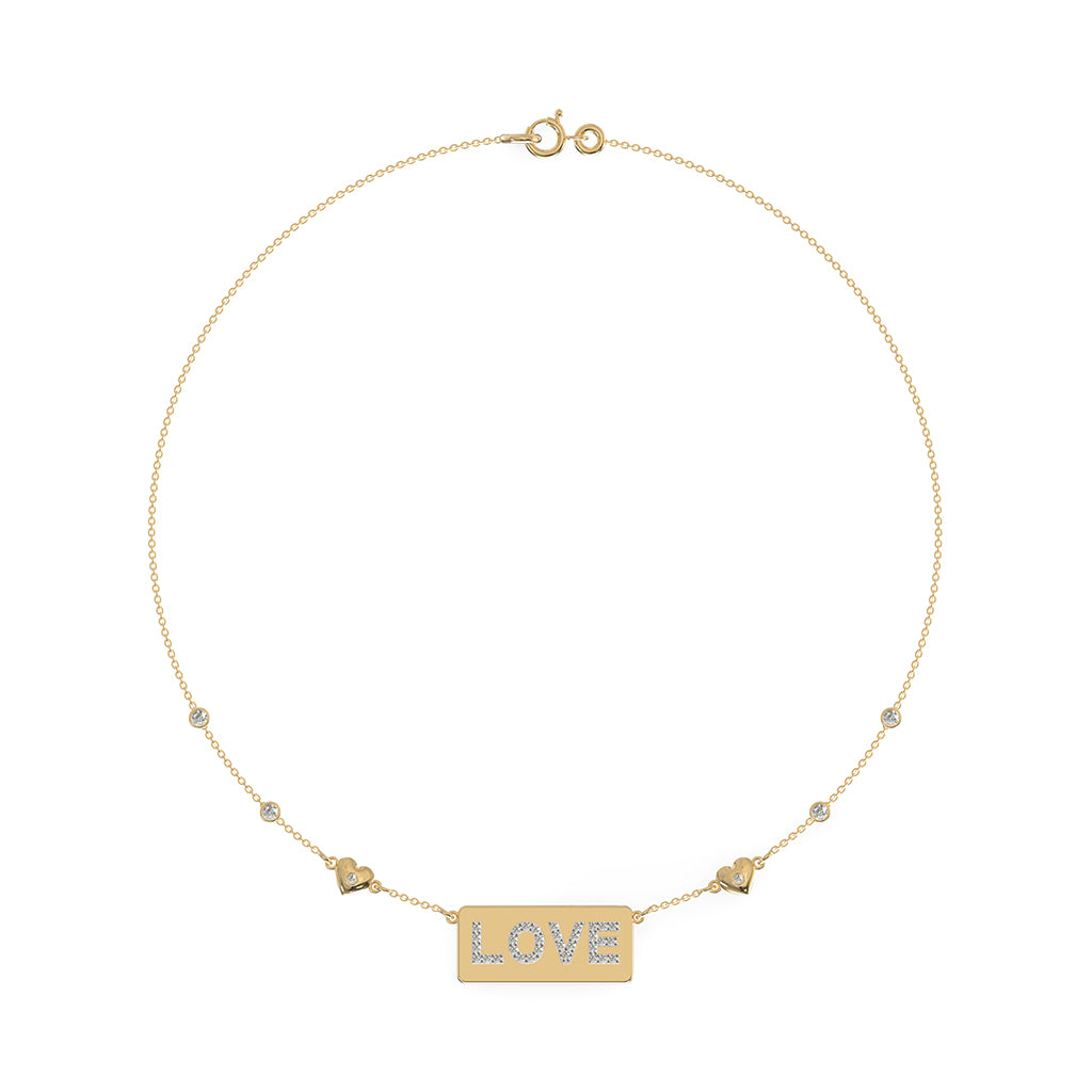 Studded Love Tag Necklace