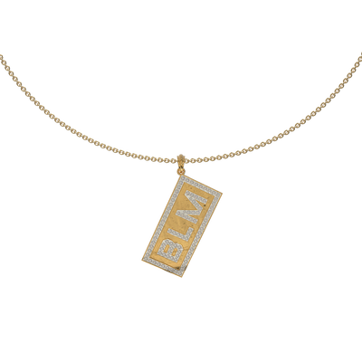 BLM Studded Tag Necklace