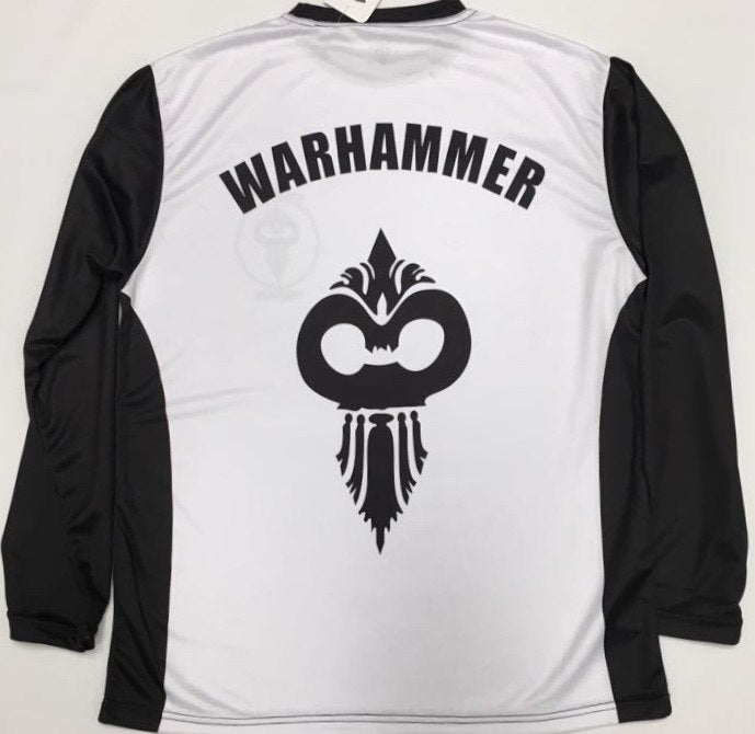 Long Sleeve Black and White Dry Fit T-Shirt (Adult Sizes) - Warhammer Fightwear
