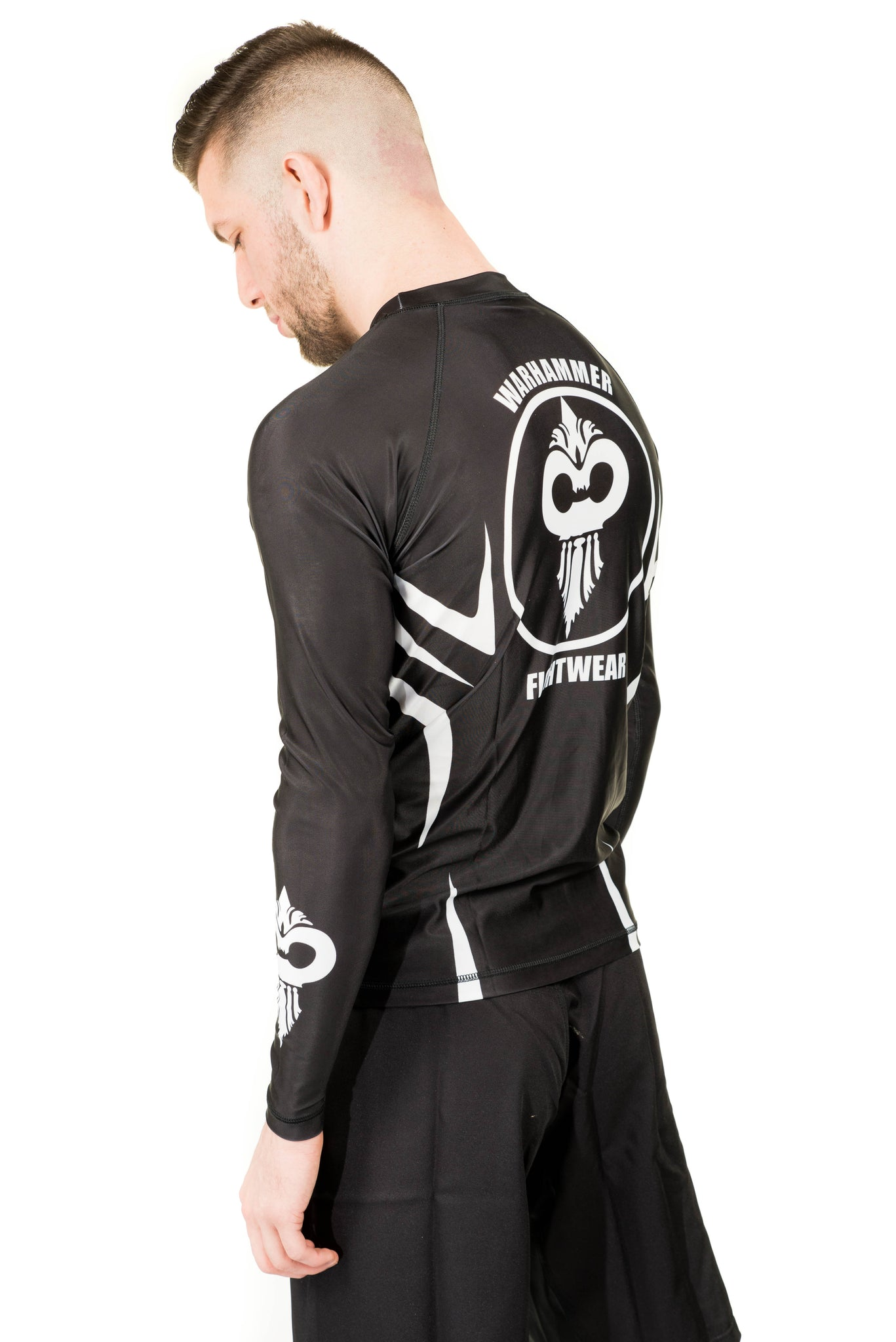 """Razor"" Series Rash Guard White on Black (Adult Sizes Unisex) - Warhammer Fightwear"