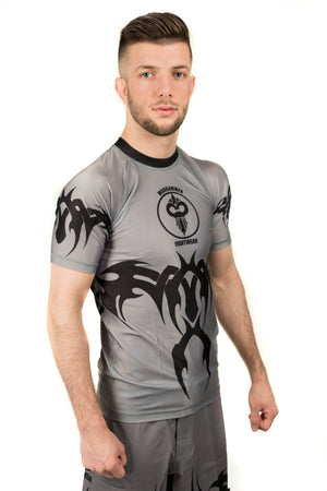 """Tribal"" Series Rash Guard Black on Grey (Adult Sizes Unisex) - Warhammer Fightwear"