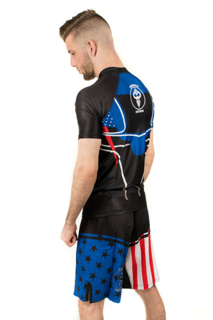 American Flag Inspired Rash Guard Black (Adult Sizes Unisex) - Warhammer Fightwear