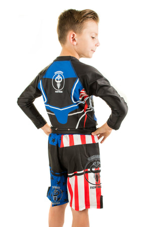 American Flag Fight Shorts Blue Background (Youth) - Warhammer Fightwear