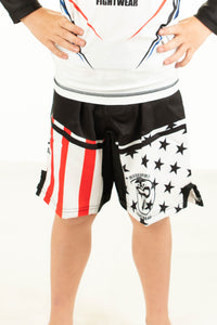 American Flag Fight Shorts White Background (Youth)