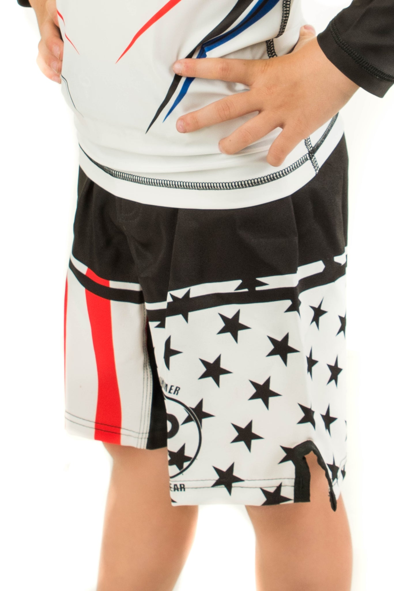 American Flag Fight Shorts White Background (Youth) - Warhammer Fightwear