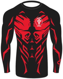 """Savage"" Series Red on Black Rash Guard (Adult Sizes Unisex) - Warhammer Fightwear"
