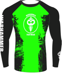 """Splatter"" Series Rash Guard Green on Black (Adult Size Unisex) - Warhammer Fightwear"