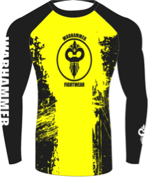"""Splatter"" Series Rash Guard Yellow on Black (Adult Sizes Unisex) - Warhammer Fightwear"