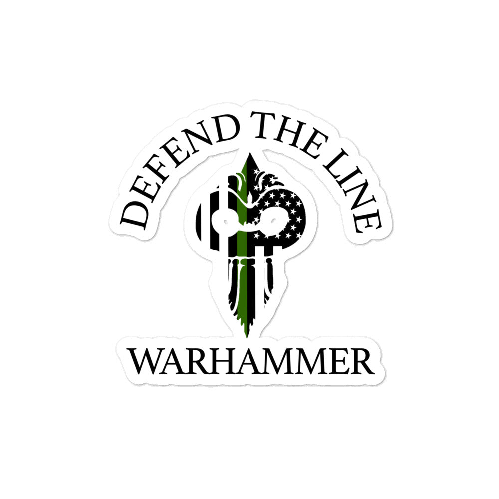 Warhammer Fightwear Defend The Line (Thin Green Line) Bubble-free stickers - Warhammer Fightwear