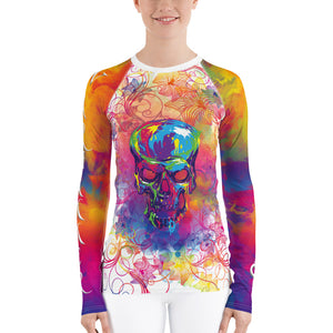 Warhammer Fightwear Colorful Skull and Flower Design Women's Rash Guard - Warhammer Fightwear