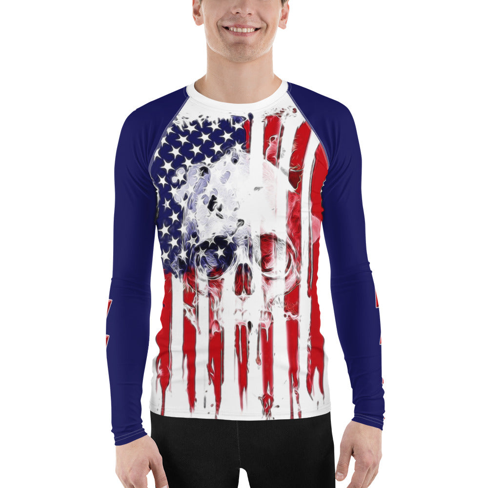 Warhammer Fightwear American Flag Skull Men's Rash Guard - Warhammer Fightwear