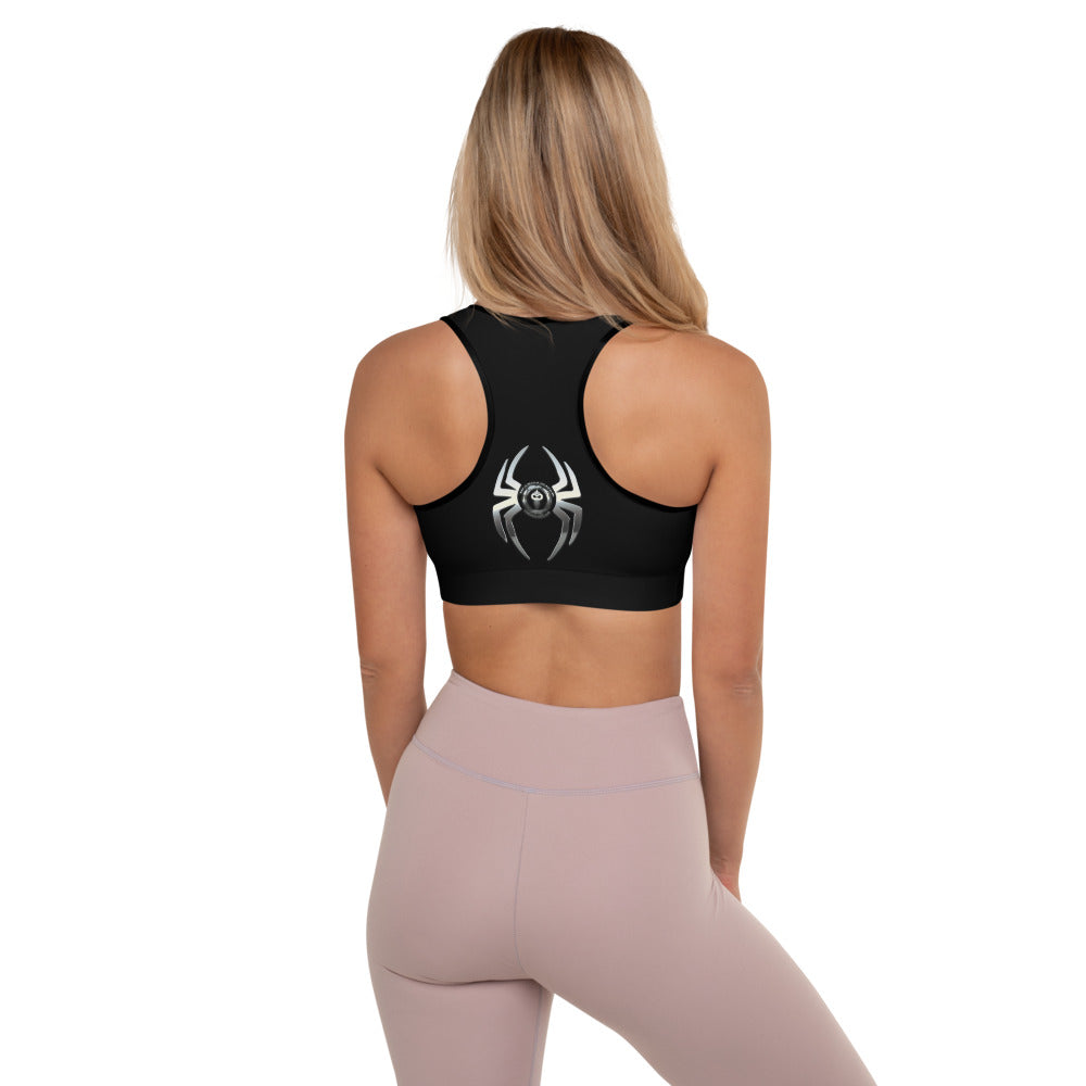 Warhammer Fightwear Black Widow Borga Chrome Padded Sports Bra - Warhammer Fightwear