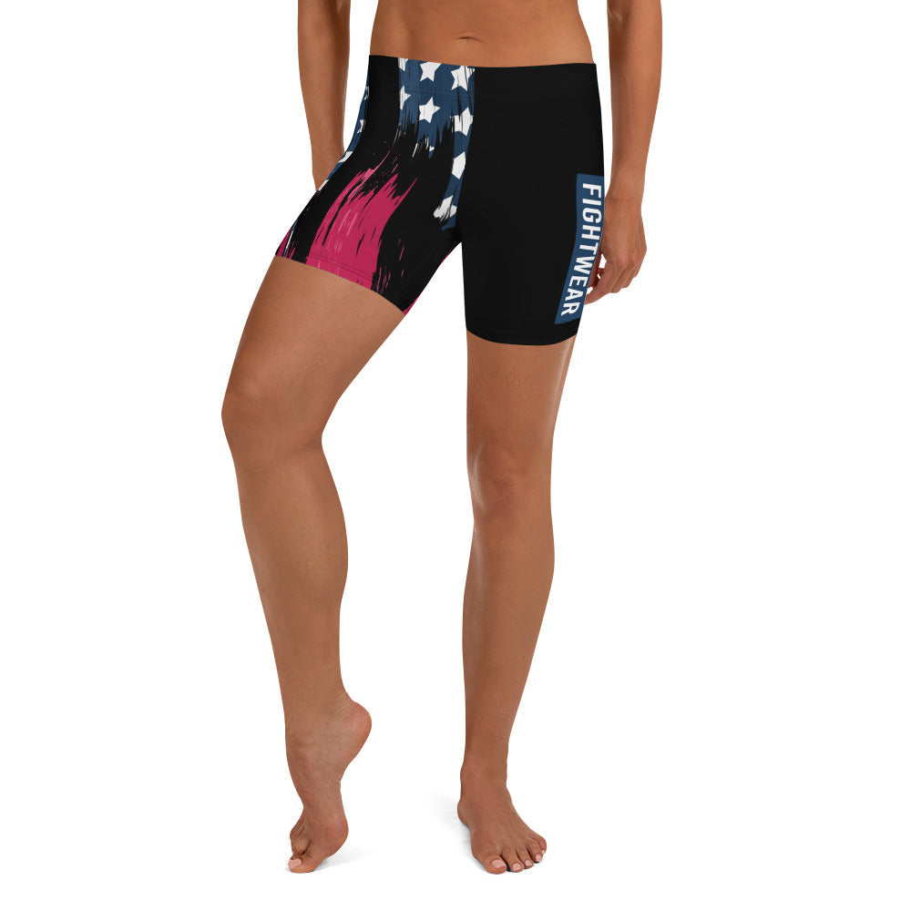 Warhammer Fighwear American Flag Compression Shorts (Black) - Warhammer Fightwear