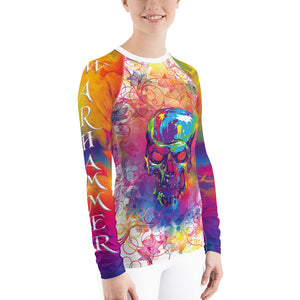 Warhammer Fightwear Colorful Skull and Flower Design Women's Rash Guard