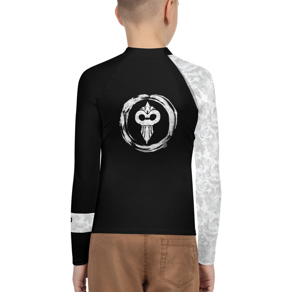 Warhammer Fightwear White Belt Ranked Youth Rash Guard - Warhammer Fightwear