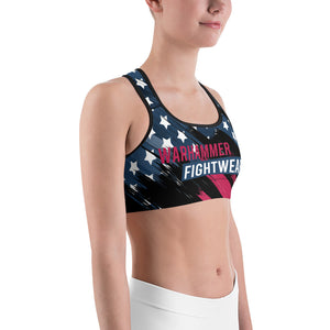 Warhammer Fightwear American Flag Sports Bra Black Background - Warhammer Fightwear