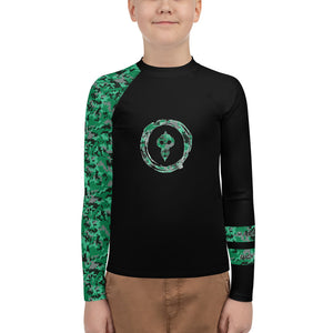 Warhammer Fightwear Green Belt Ranked Youth Rash Guard (Boys or Girls) - Warhammer Fightwear