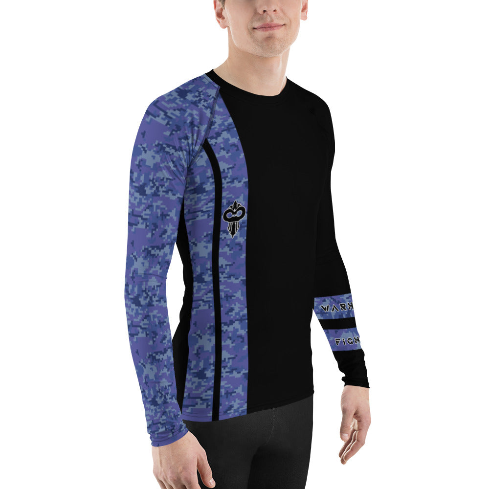 Warhammer Fightwear Blue Belt Ranked Men's Rash Guard - Warhammer Fightwear