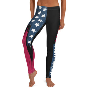 Warhammer Fightwear American Flag Black Leggings/Spats (Womens) - Warhammer Fightwear