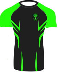 """Razor"" Series Rash Guard Green on Black (Adult Sizes Unisex) - Warhammer Fightwear"