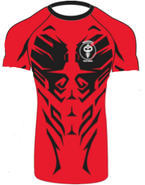 """Savage"" Series Black on Red Rash Guard  (Adult Sizes Unisex) - Warhammer Fightwear"