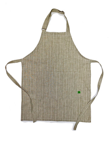 Natural Linen Stripe Adult Apron