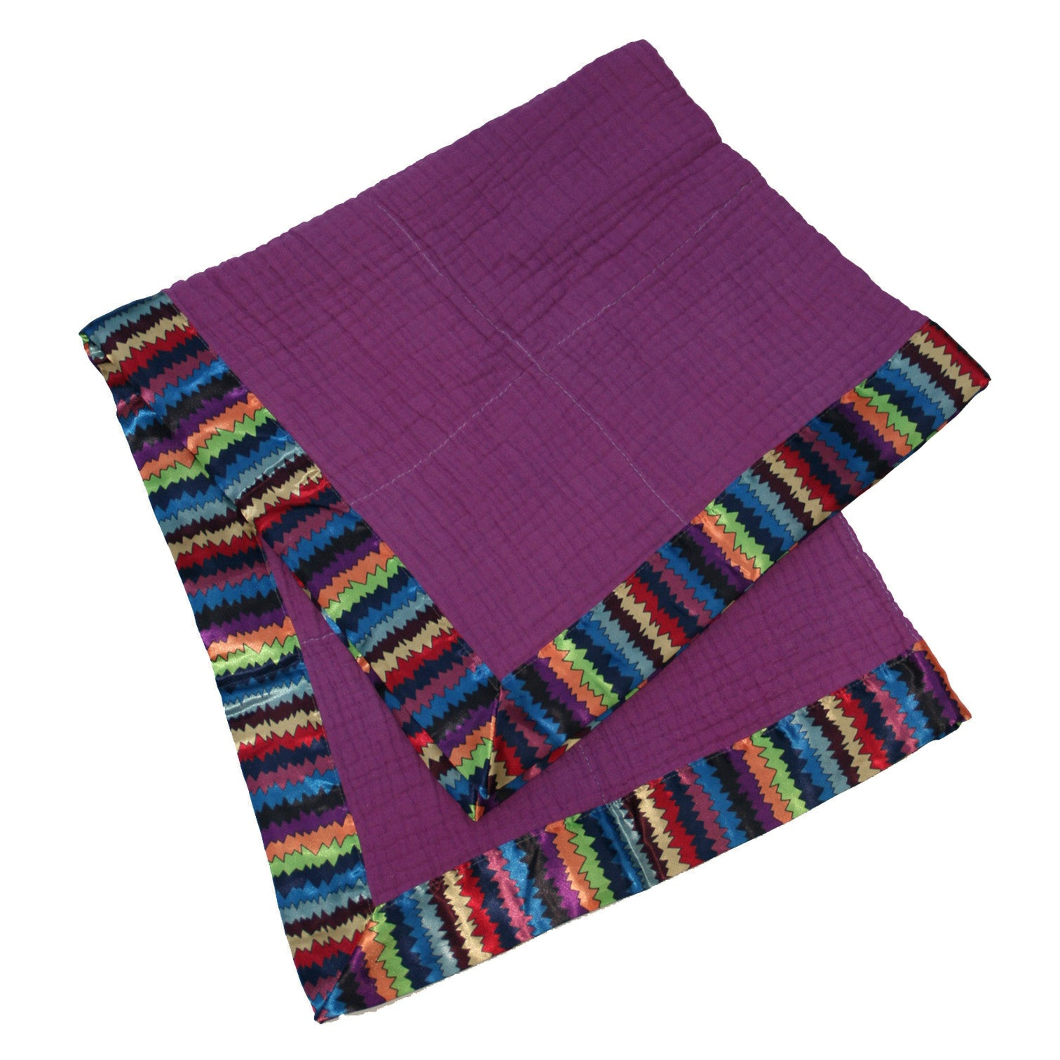 Purple Zigzag Satin Trim Baby Blanket