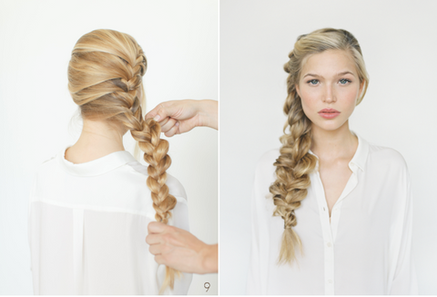 Front and back image of a blonde woman wearing a side braid, for Untangled