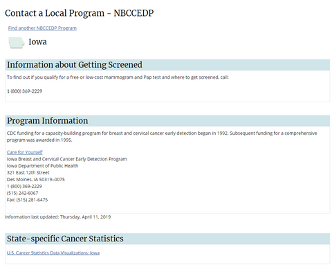 A contacts page for NBCCEDP, for Untangled