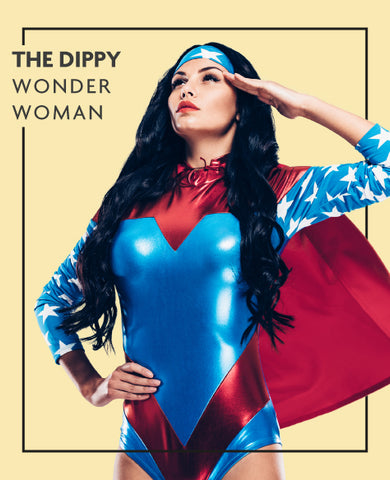 The Dippy extensions in Wonder Woman costume, for Untangled blog