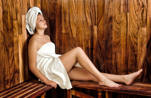 Woman in a sauna relaxing, for Untangled