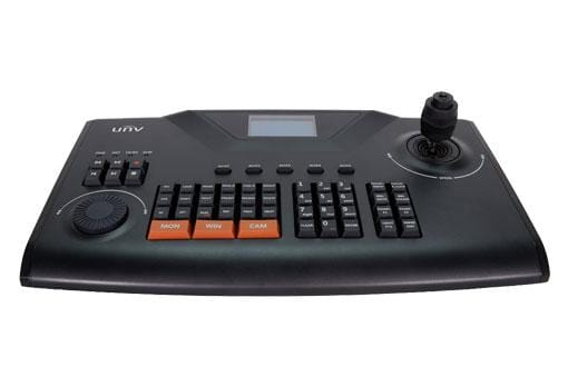 KB-1100 IP based joystick keyboard controller for PTZ camera control on a system.