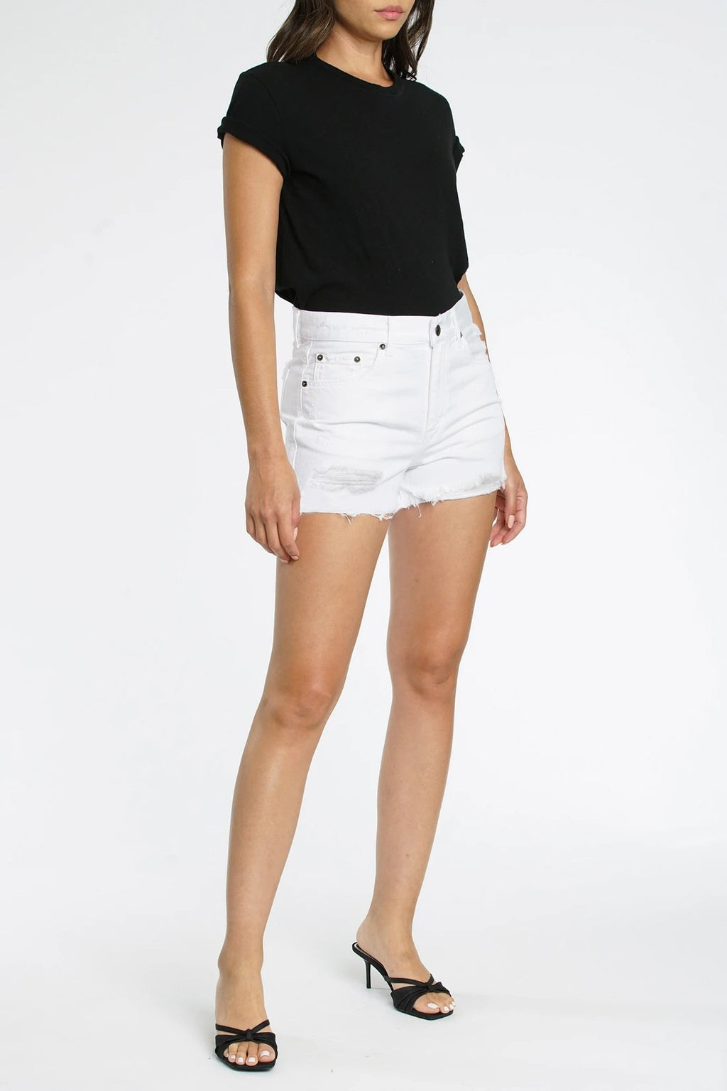 NOVA RELAXED HIGH RISE CUT OFF- WHITE