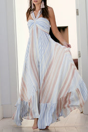STRIPE MAXI DRESS WITH TWISTED HALTER TOP