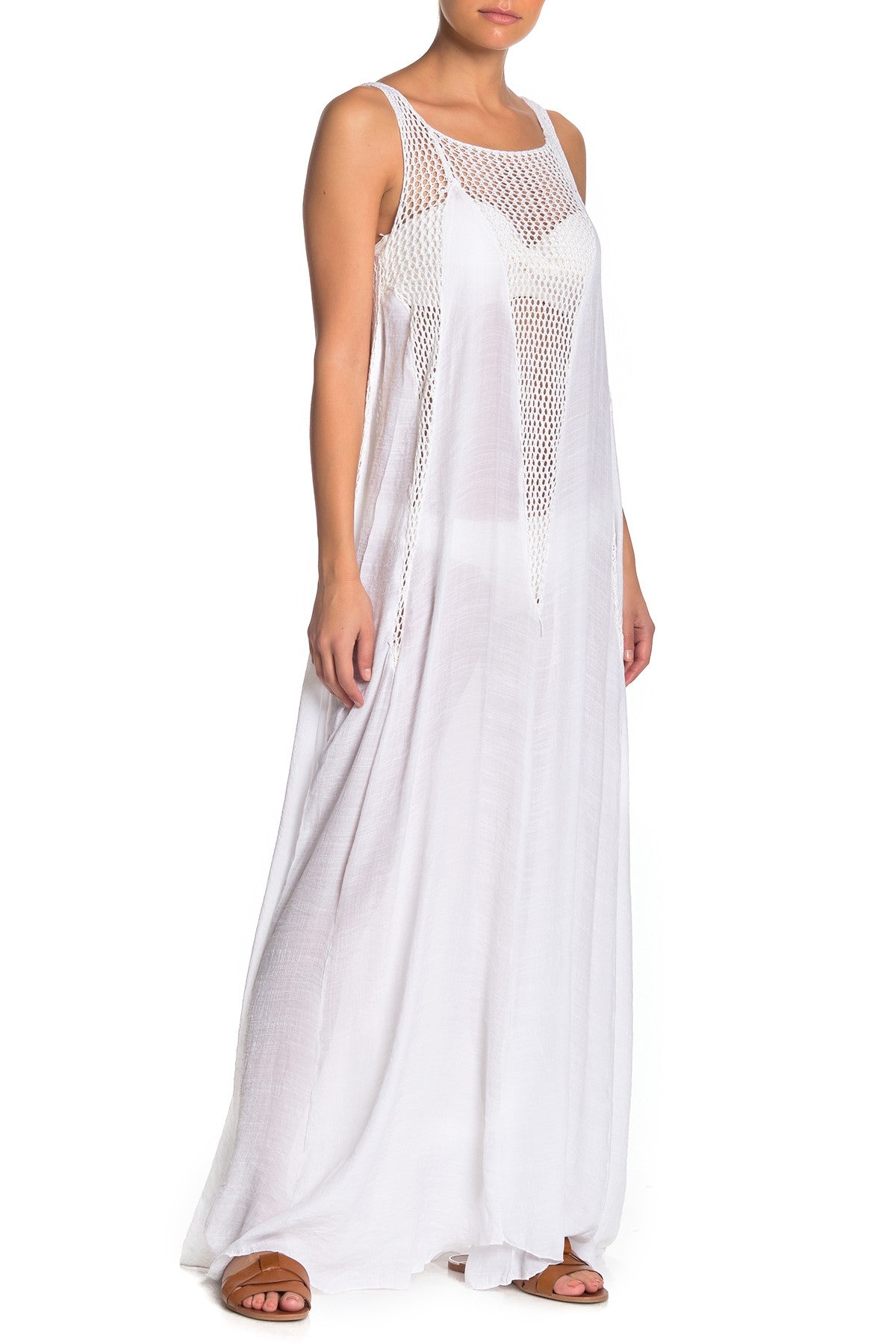 Sleeveless Crochet Dress - White
