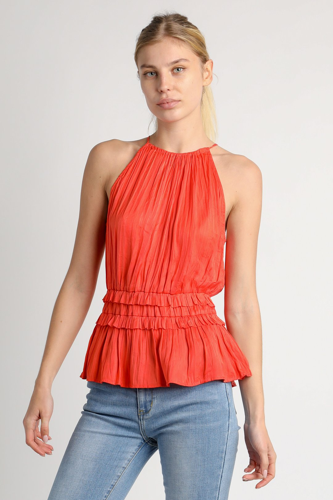 Pleated Halter Top w/ Back Cut Out - Tangerine