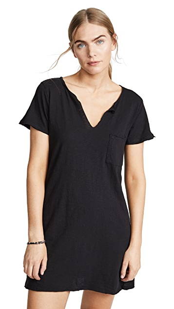 COTTON GAUZE V-NECK WOVEN DRESS - BLACK
