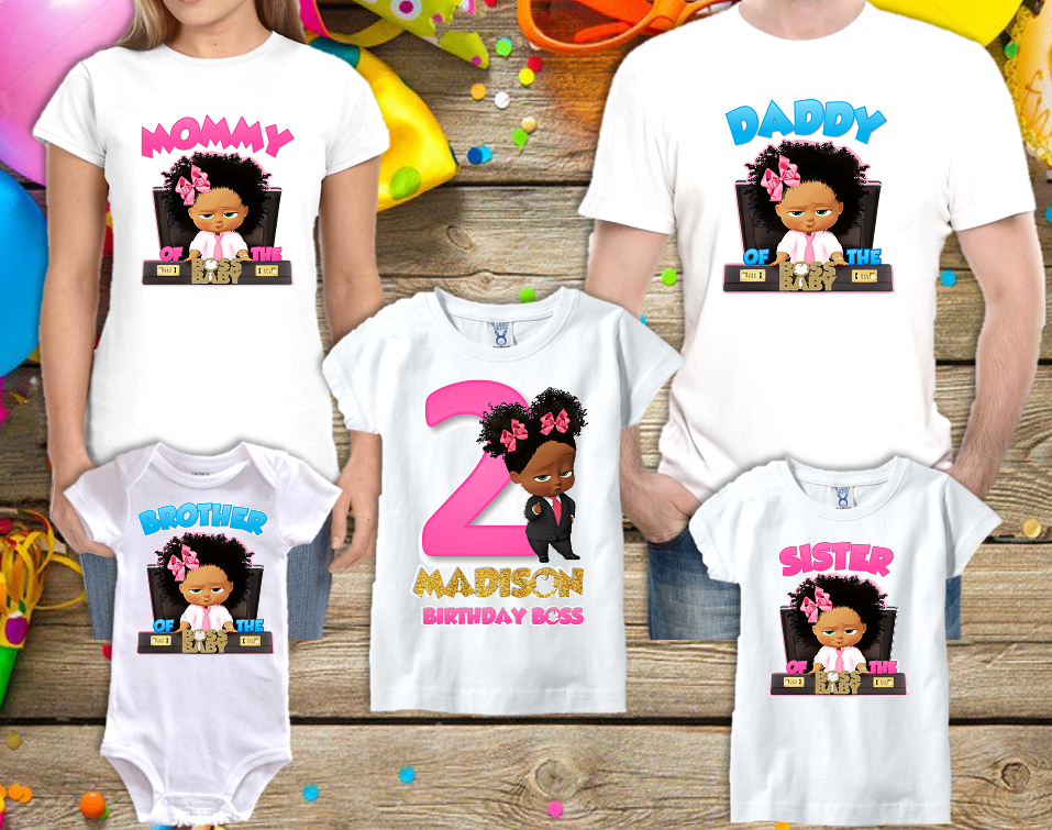 Boss Baby Girl Black Birthday Party Personalized Family Custom T Shirt Pack Of 5