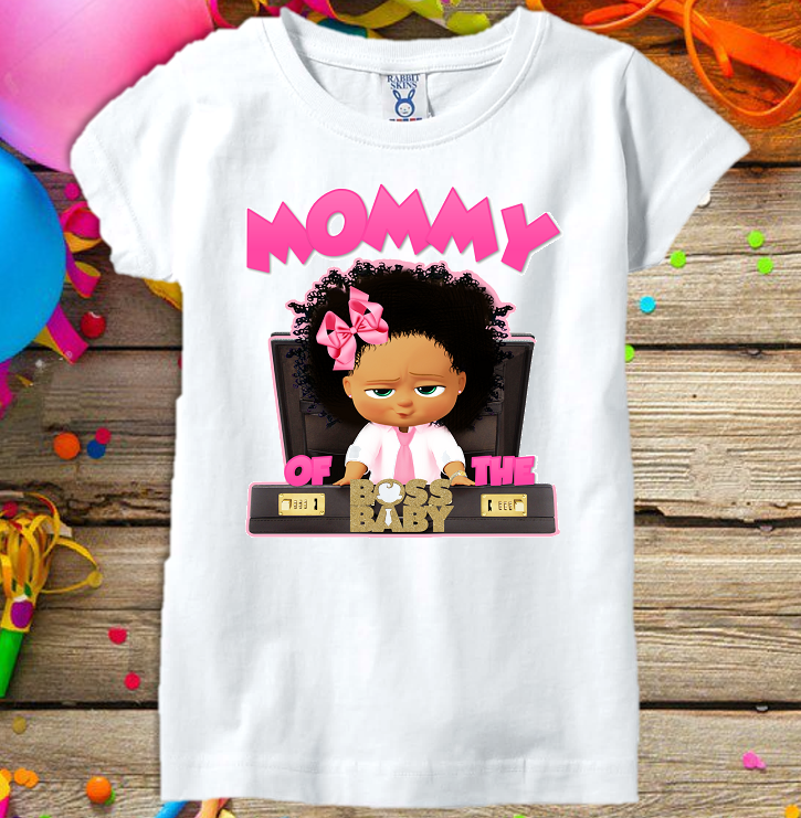 Boss Baby Girl Black Birthday Party Personalized Custom Parent Mom Mommy Mother T Shirt All Sizes