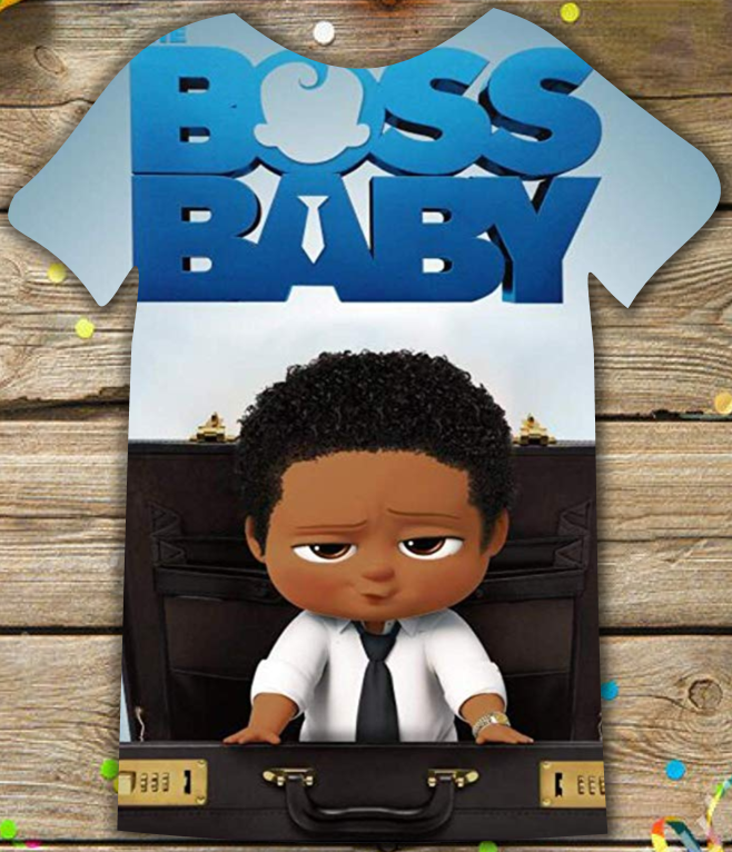 Boss Baby Black Boy Birthday Party Christmas Full Color T Shirt All Sizes