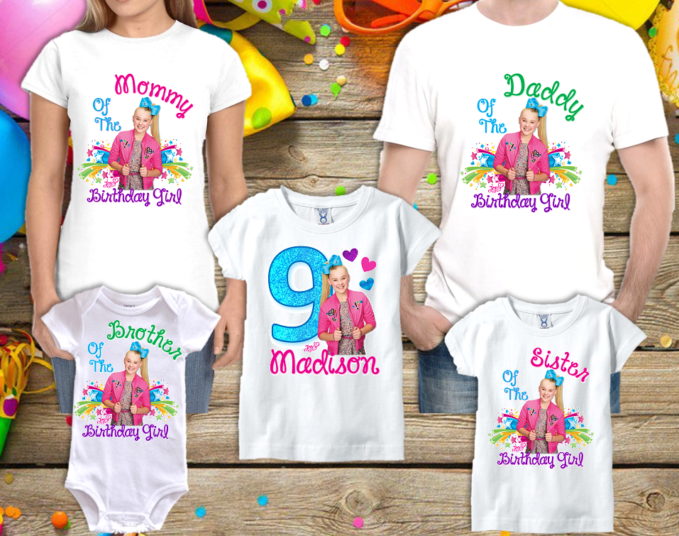 Custom Jojo Siwa Shirt Family Matching Tee Birthday Gift T-shirt New Personalize