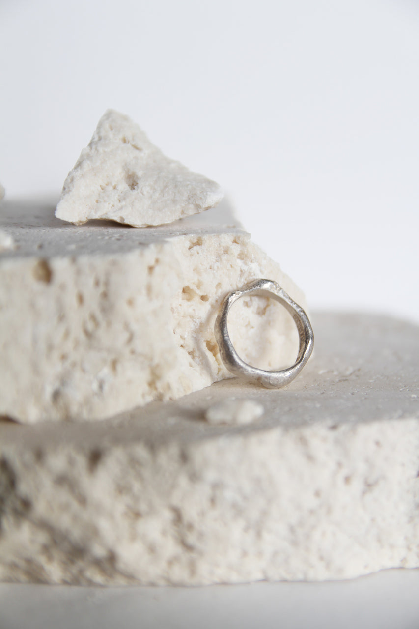 Thin white silver ring