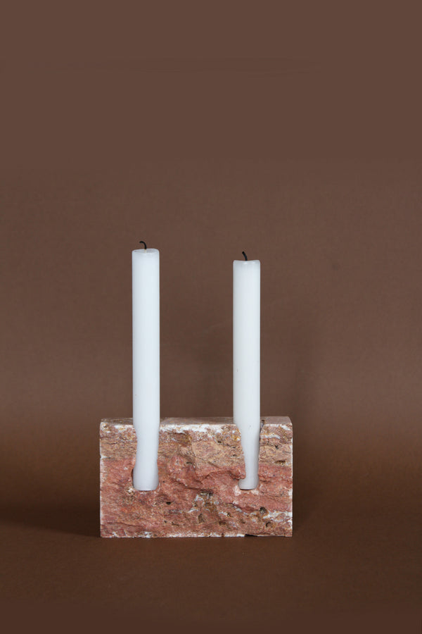 SNUG Candleholder Red travertine raw