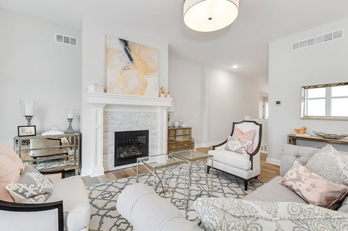 White Fireplace and Living Room