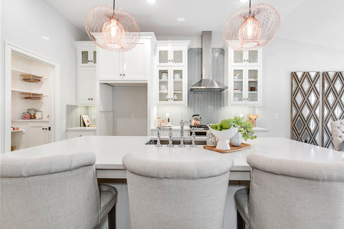 White and Gray Kitchen with Tile
