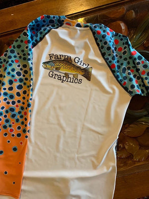 Farm Girl Graphics Trout Print Fishing Shirt