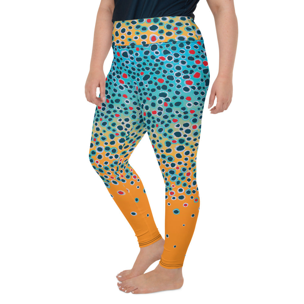 Brown Trout Print Plus Size Leggings