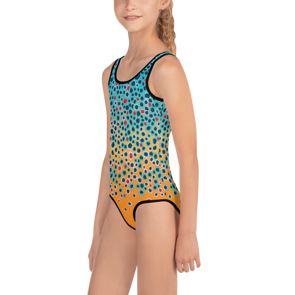 Girl Trout Print Swimsuit