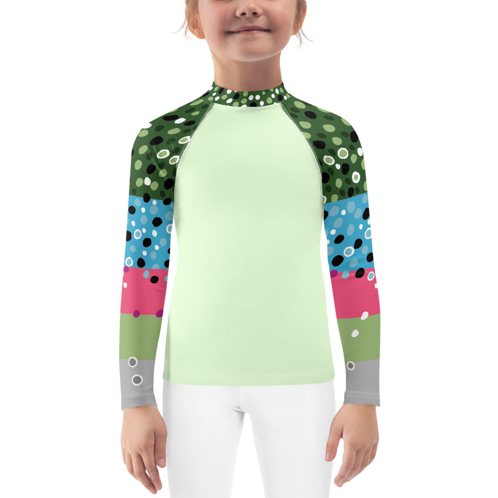 Rainbow Trout Girl's Fishing Shirt Green (2T-7)